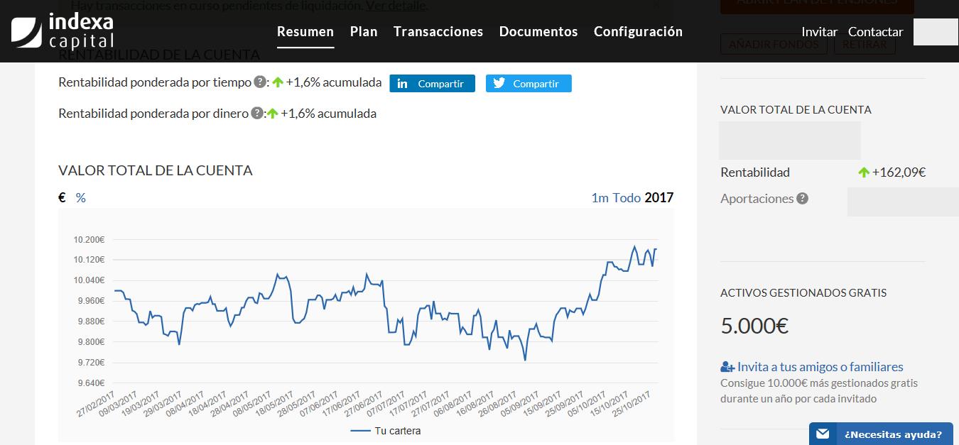 Captura de pantalla que permite comprar la interfaz de la plataforma del robo advisor Indexa Capital