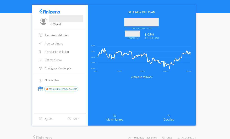 Captura de pantalla que permite comprar la interfaz de la plataforma del robo advisor Finizens