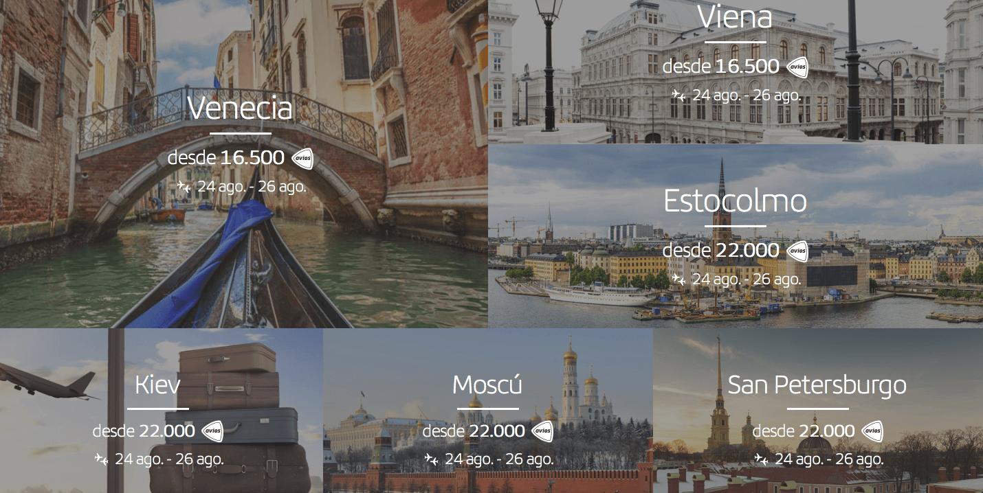 Ejemplos de vuelos que se pueden canjear por puntos y viajar gratis o casi gratis