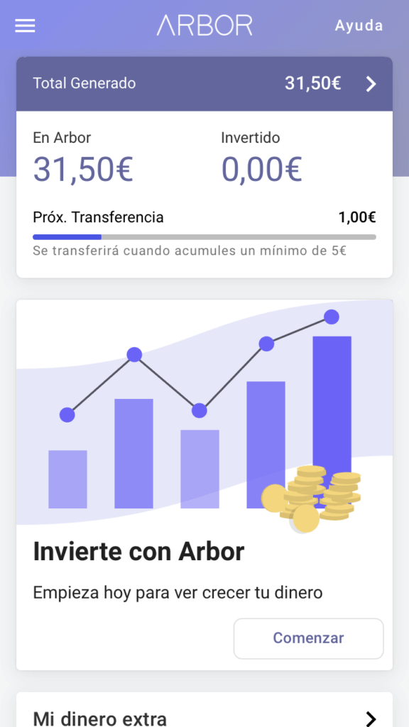 Arbor es una aplicación para ahorrar dinero con métodos de microahoorro