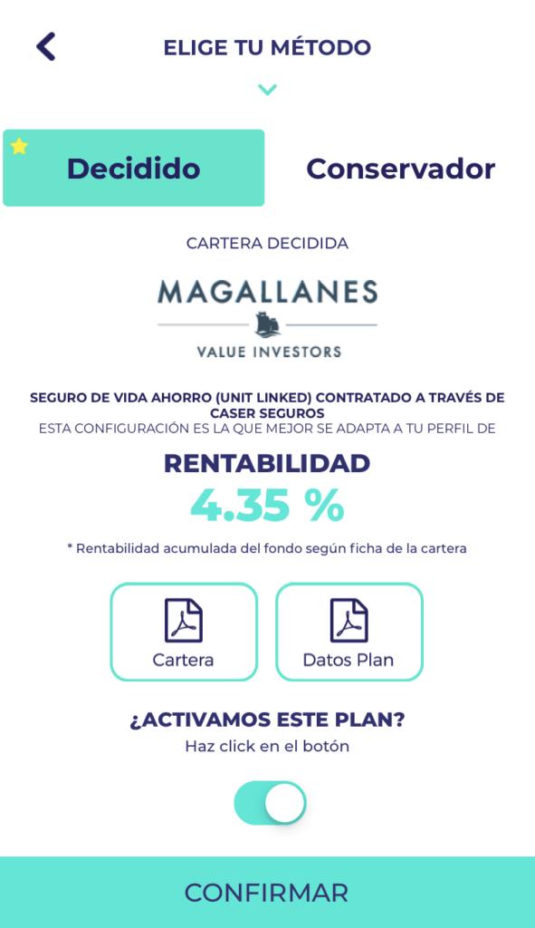 La app de coinscrap te permite ahorrar e invertir en fondos como Magallanes