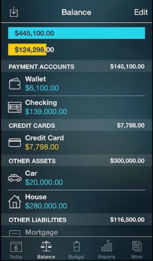 Detalle del control de gastos de Money Pro
