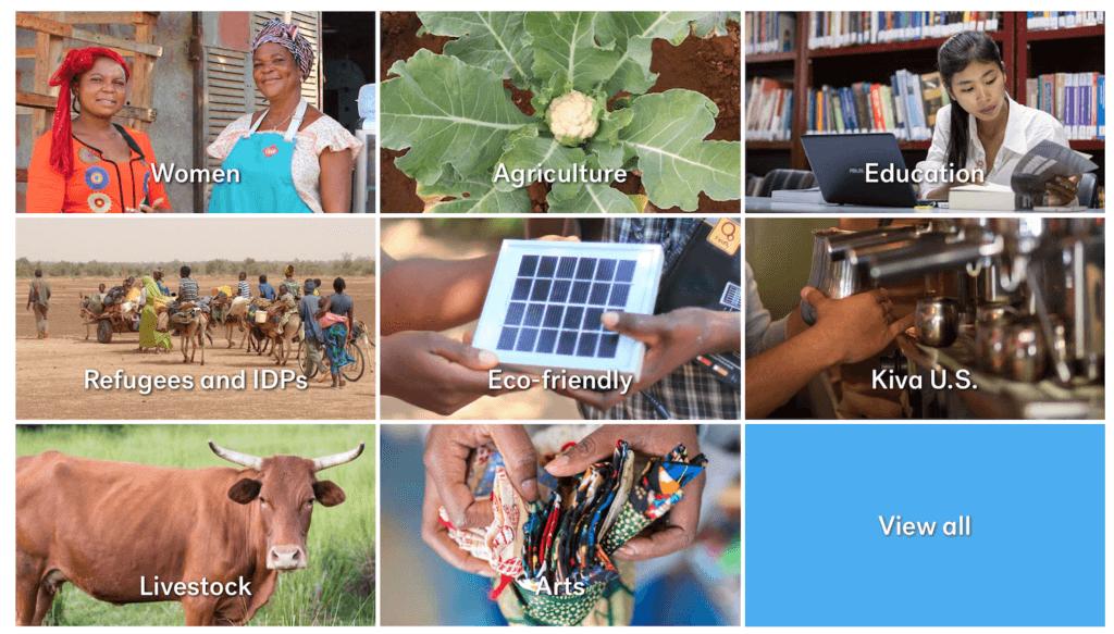 Categorías de préstamos en Kiva